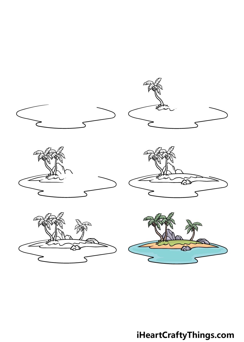 how to draw an island in 6 steps