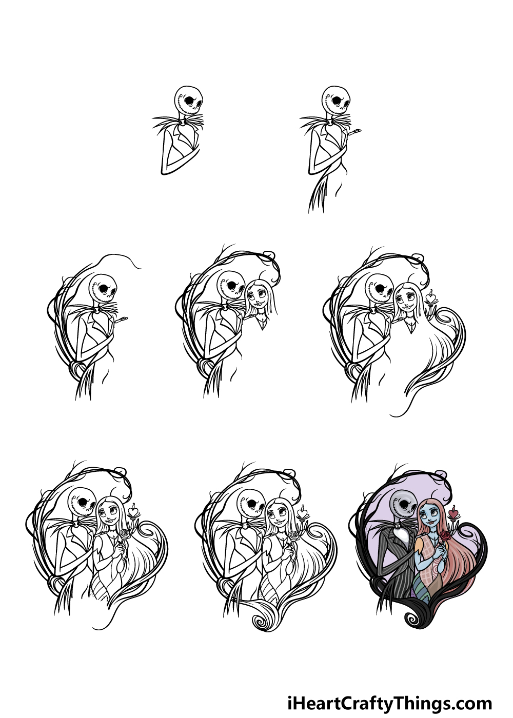 how to draw Jack and Sally in 8 steps