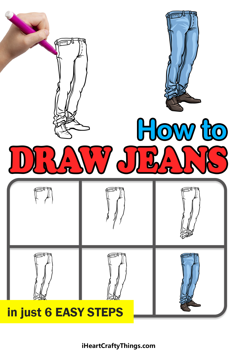 how to draw jeans in 6 easy steps