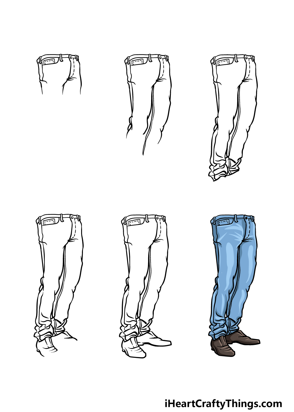 how to draw jeans in 6 steps