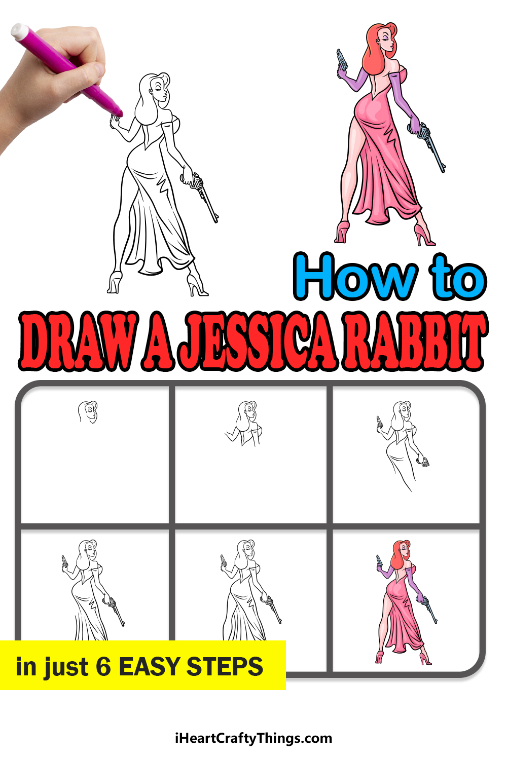 how to draw Jessica Rabbit in 6 easy steps