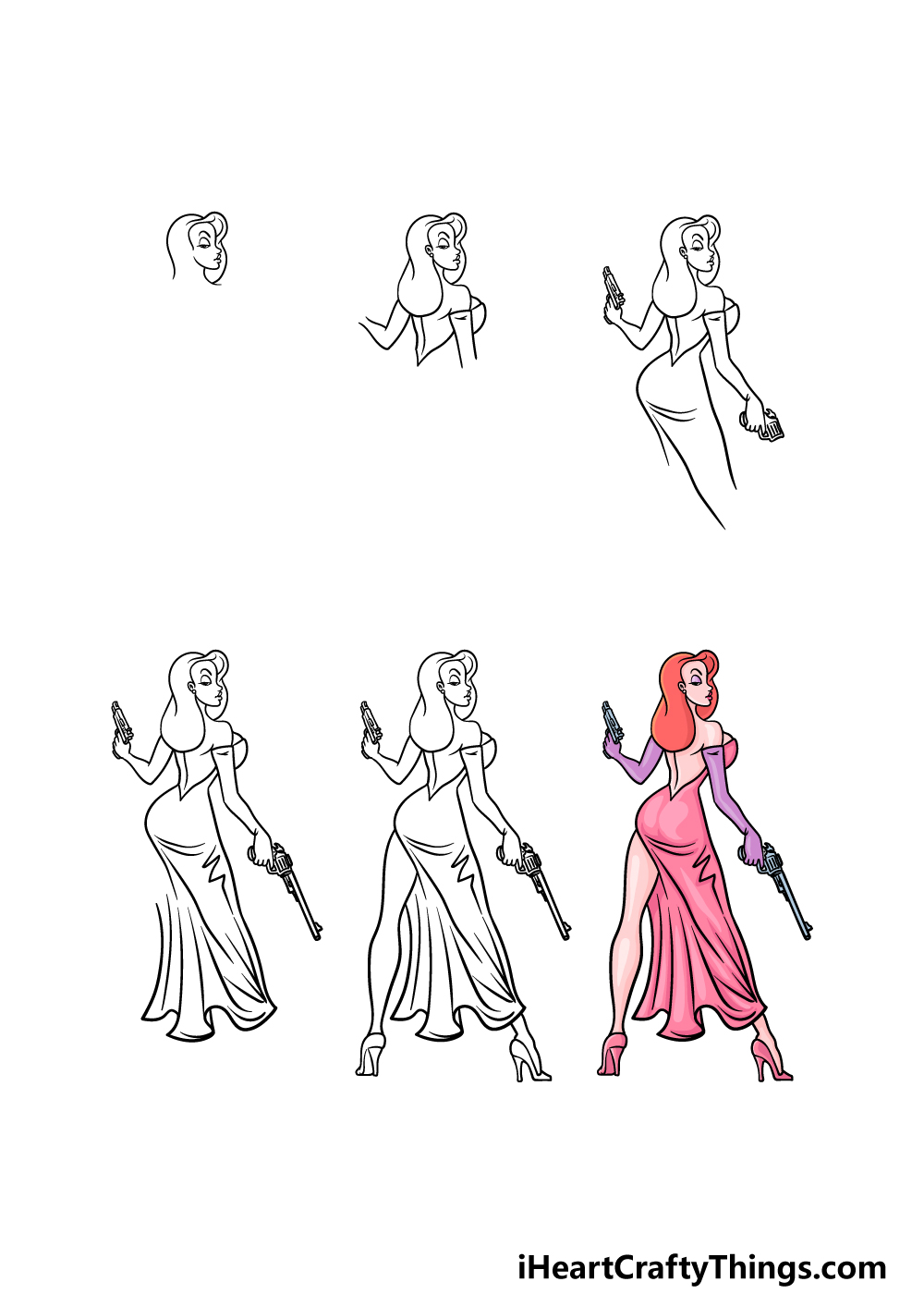 how to draw Jessica Rabbit in 6 steps