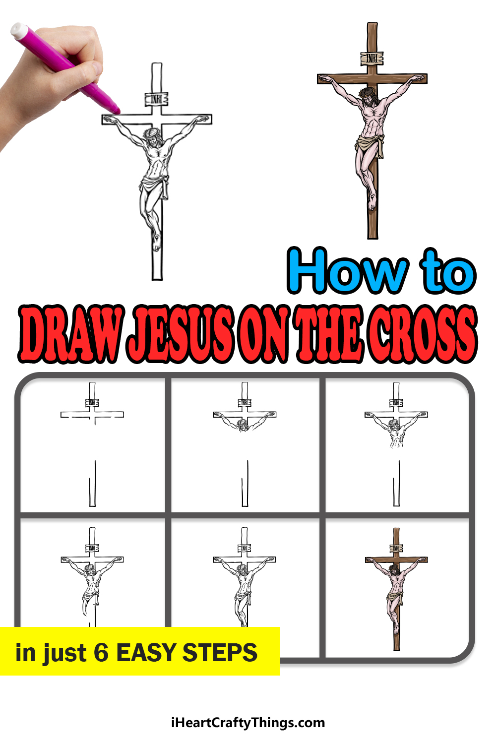 how to draw Jesus on the Cross in 6 easy steps