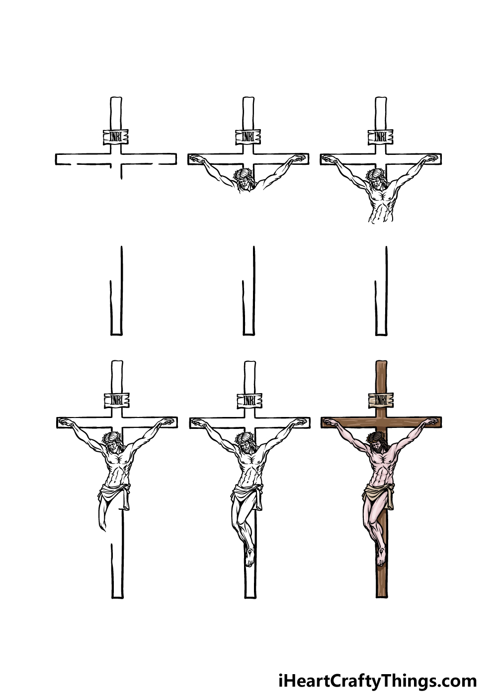 How to Draw Jesus On The Cross in 6 steps