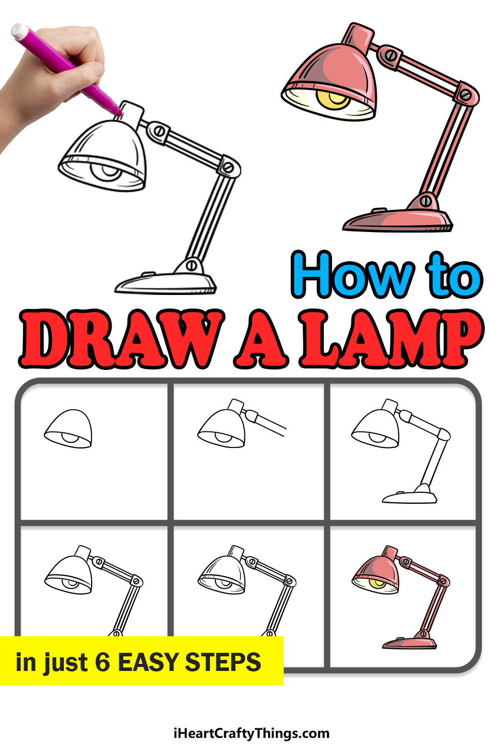 how to draw a lamp in 6 easy steps