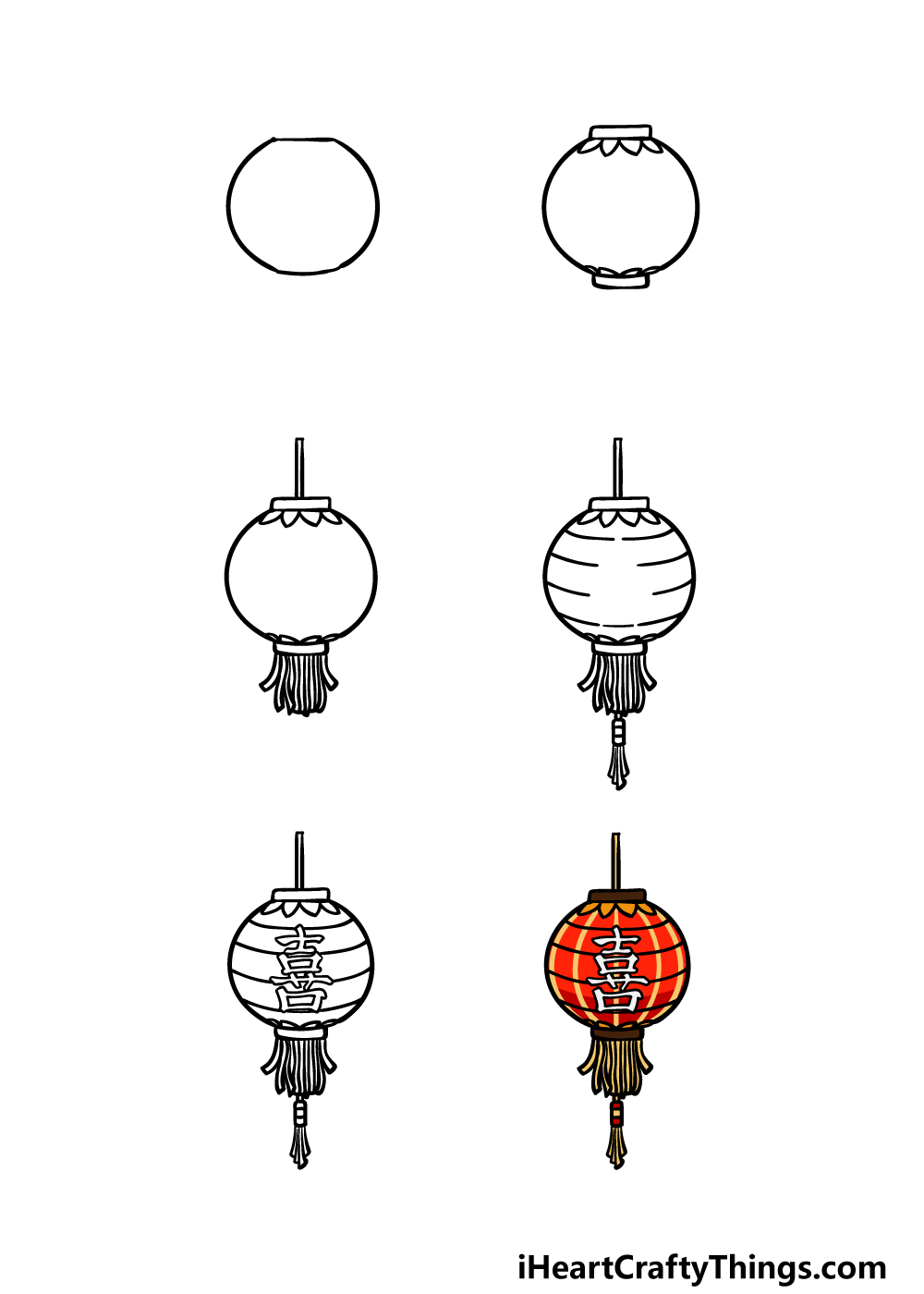how to draw a lantern in 6 steps