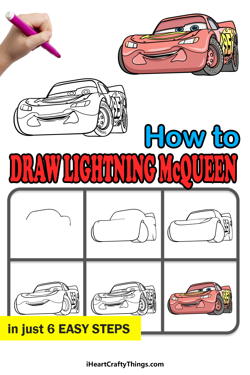 how to draw Lightning McQueen in 6 easy steps