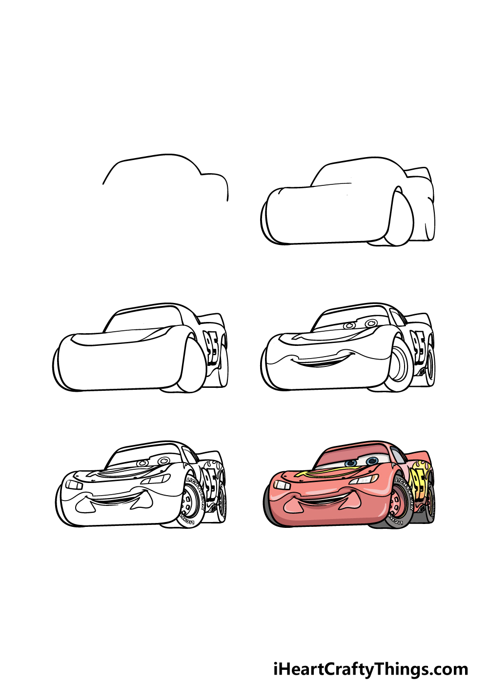 how to draw Lightning McQueen in 6 steps