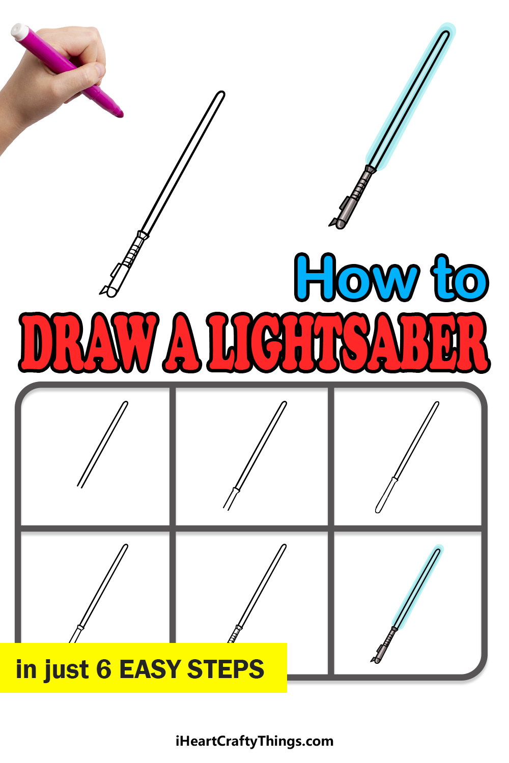 how to draw a lightsaber in 6 easy steps