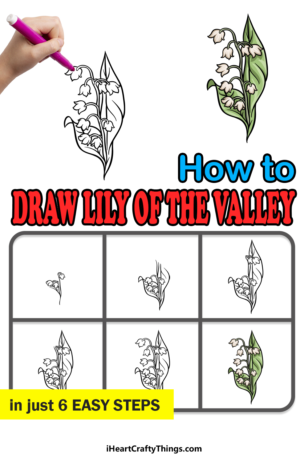 how to draw lily of the valley in 6 easy steps