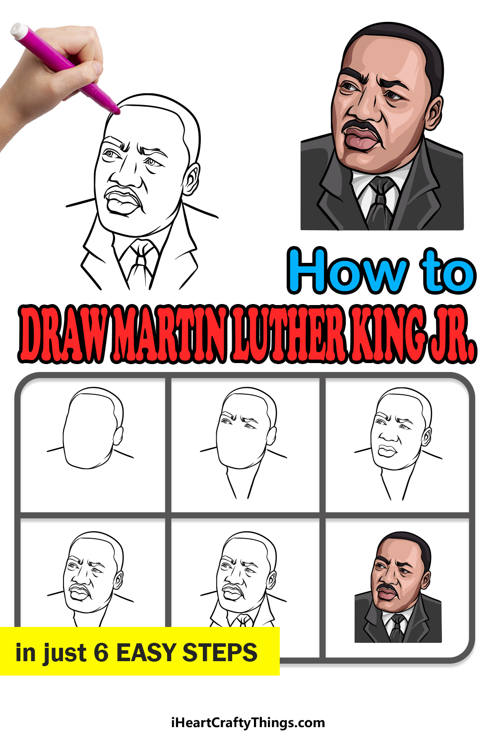 how to draw Martin Luther King Jr. in 6 easy steps