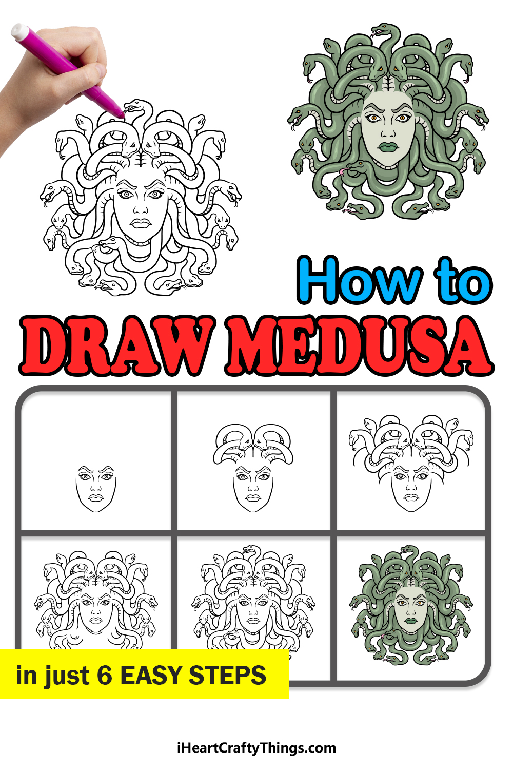 how to draw Medusa in 6 easy steps