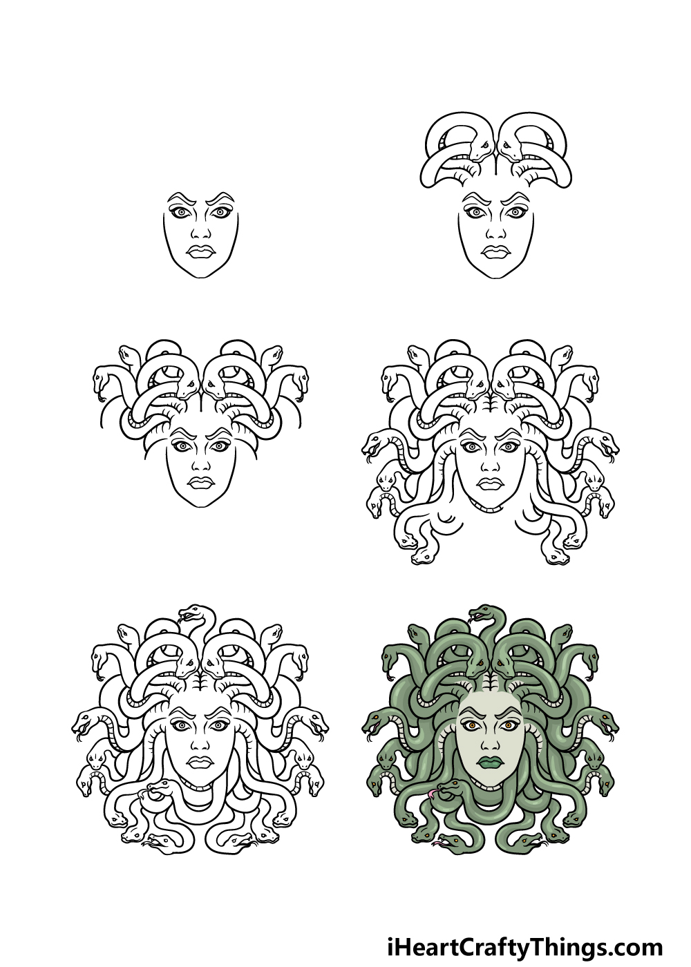how to draw Medusa in 6 steps