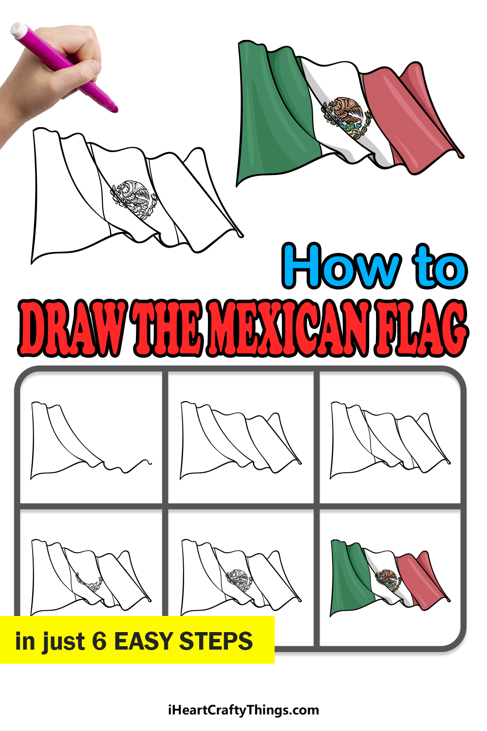 how to draw Mexican flag in 6 easy steps