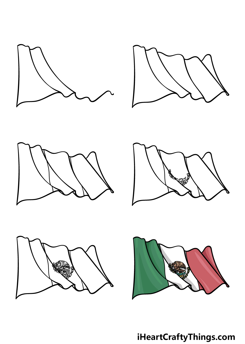 how to draw Mexican Flag in 6 steps