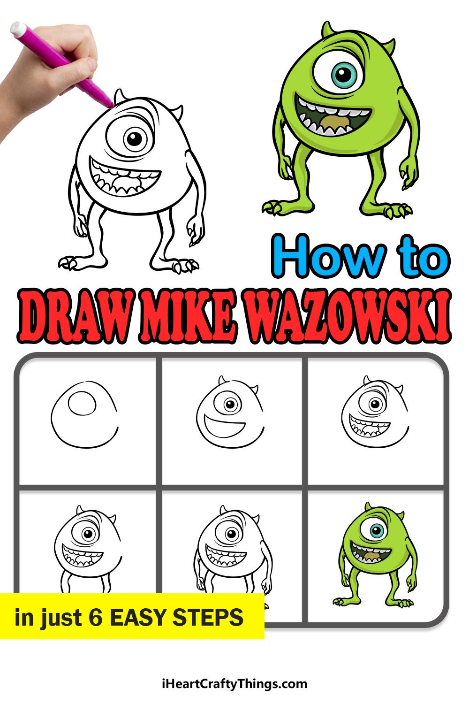 how to draw Mike Wazowski in 6 easy steps