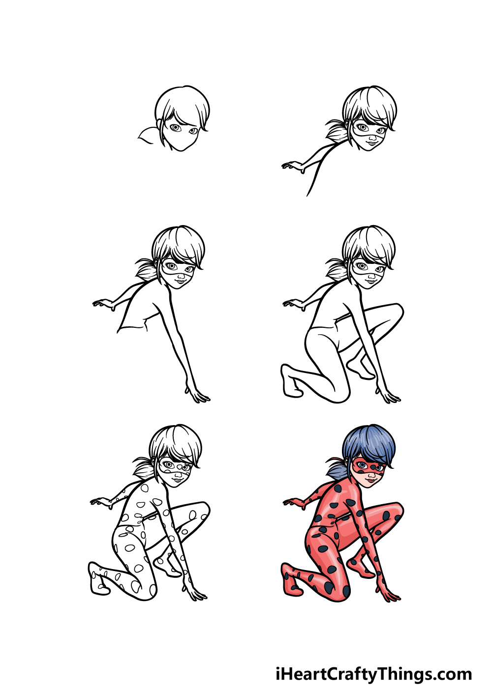 how to draw Miraculous Ladybug in 6 steps