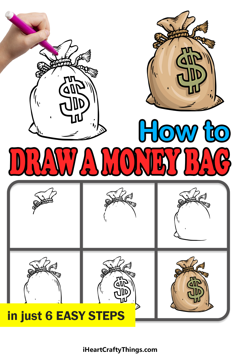 how to draw a money bag in 6 easy steps
