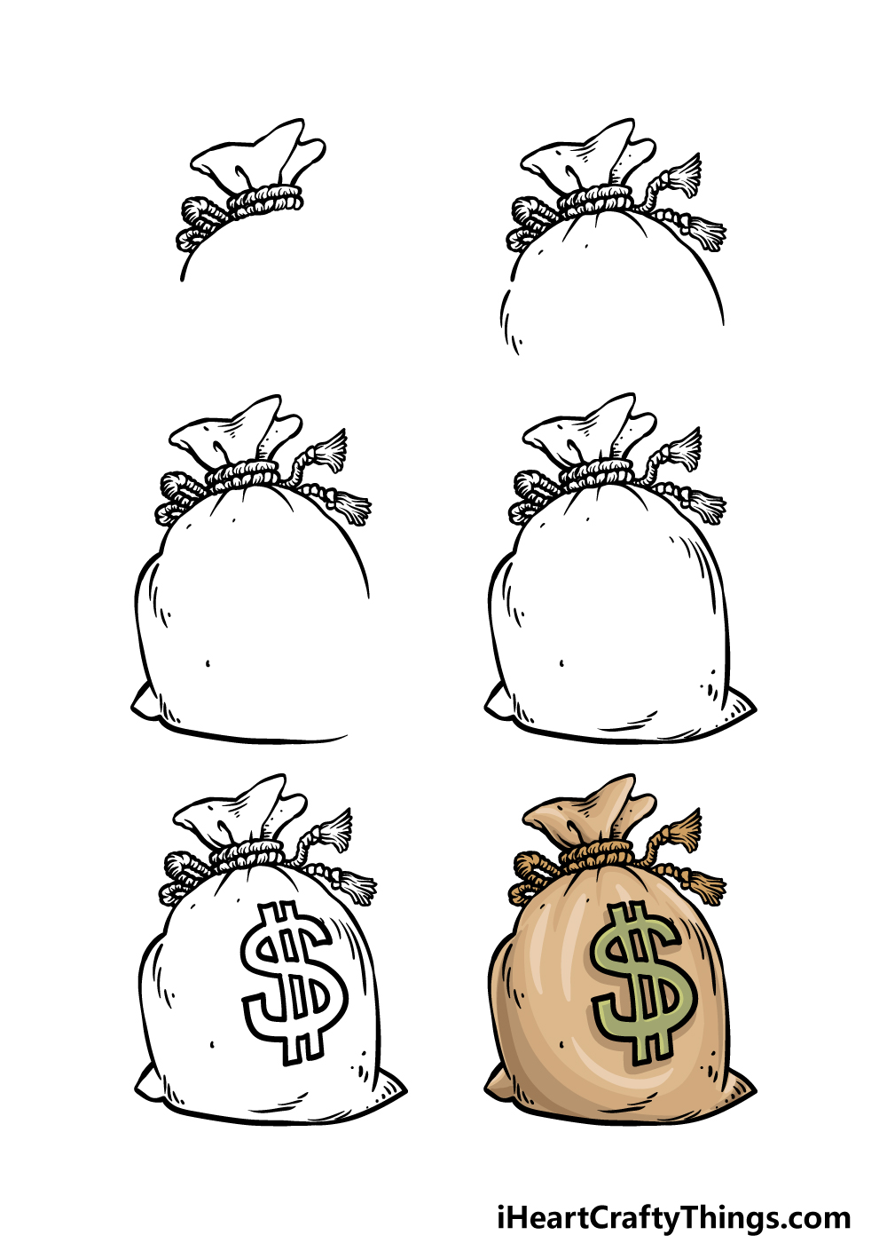 how to draw a money bag in 6 steps