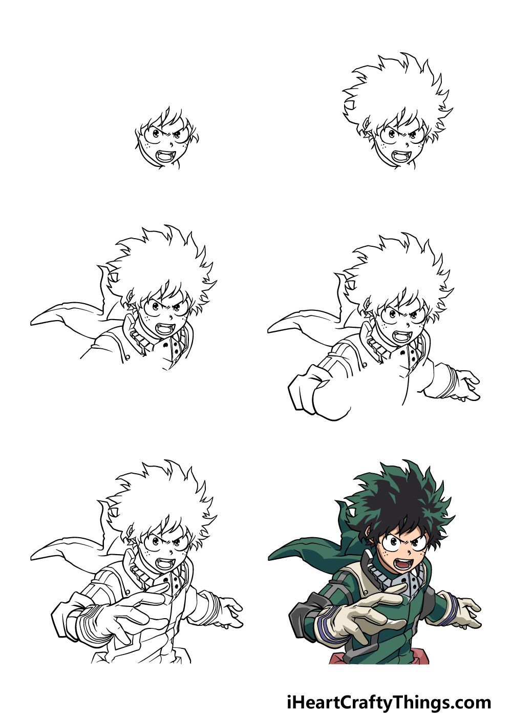how to draw my hero academia in 6 steps