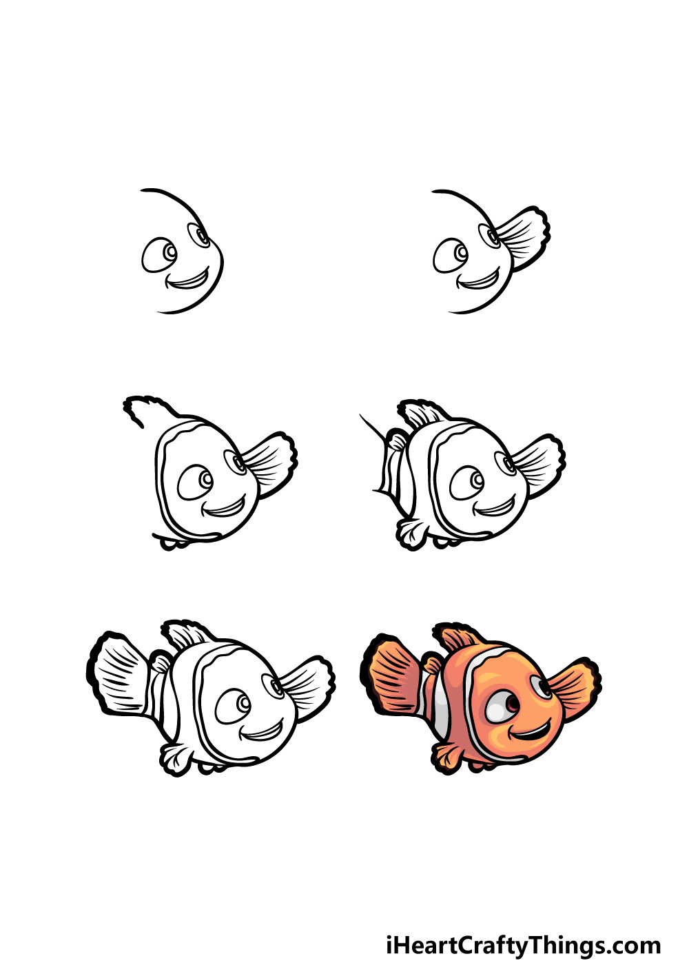 how to draw Nemo in 6 steps