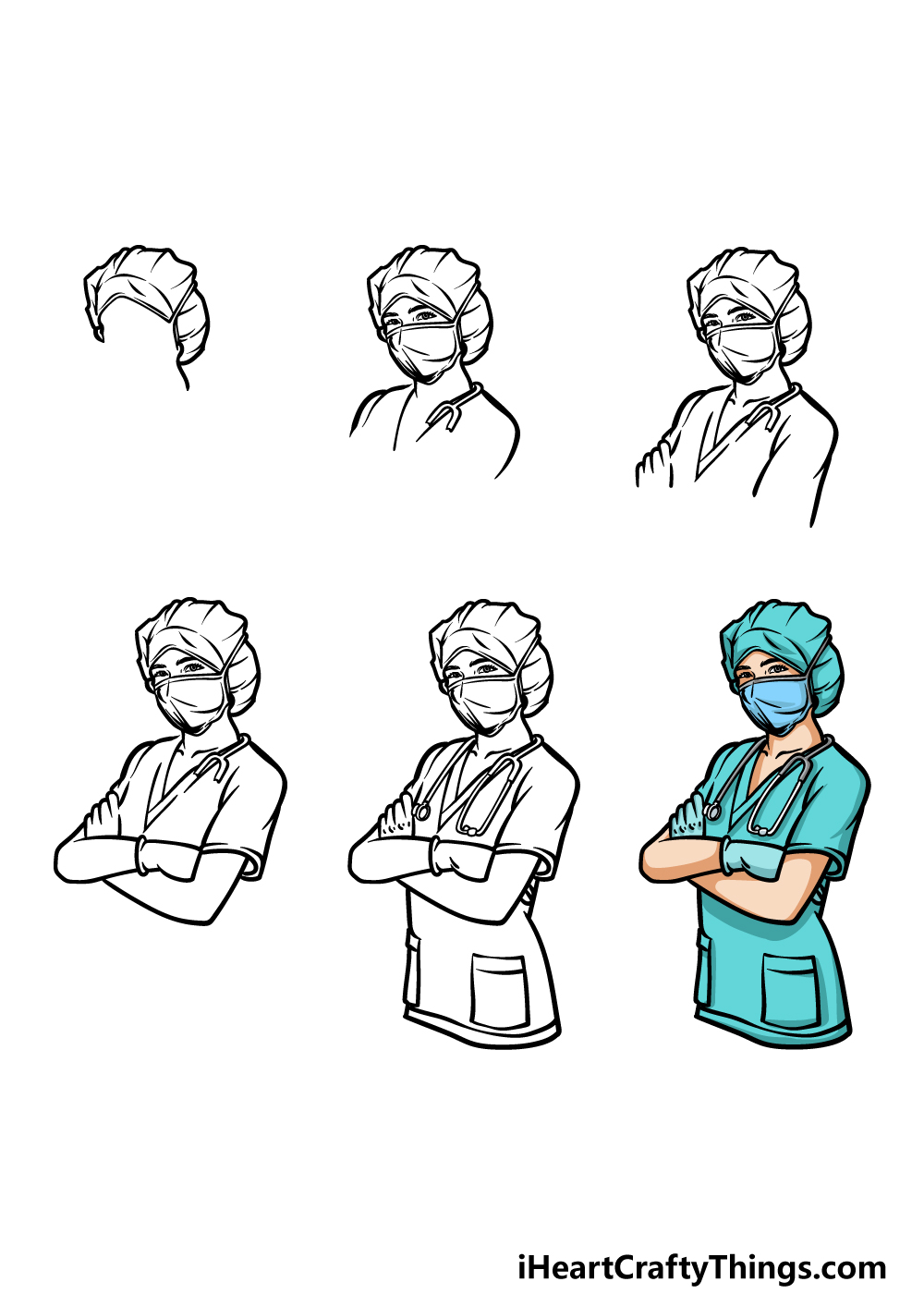 how to draw a nurse in 6 steps
