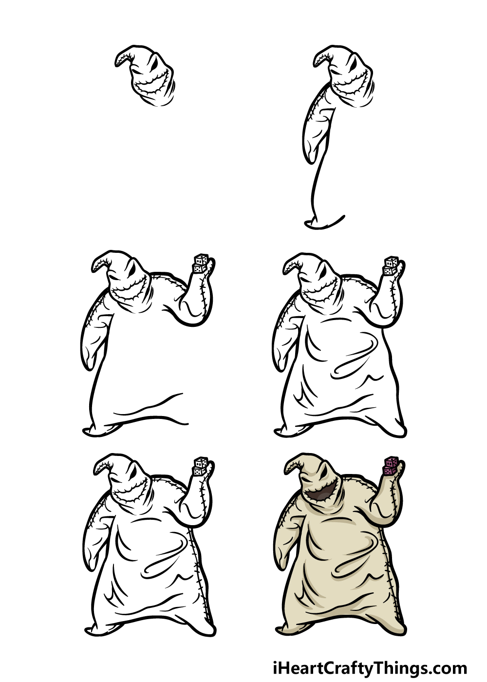 how to draw Oogie Boogie in 6 steps