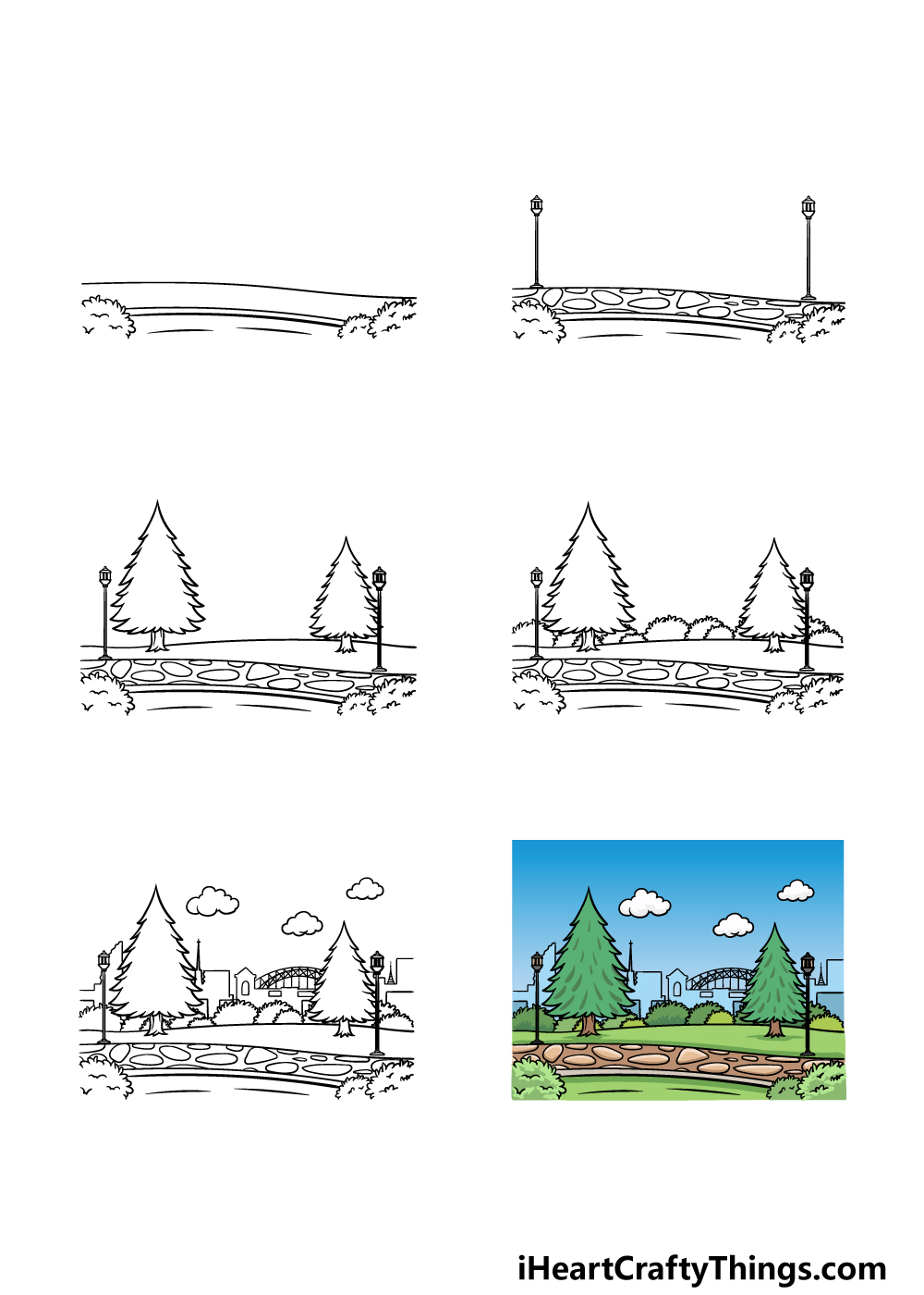 how to draw a park in 6 steps