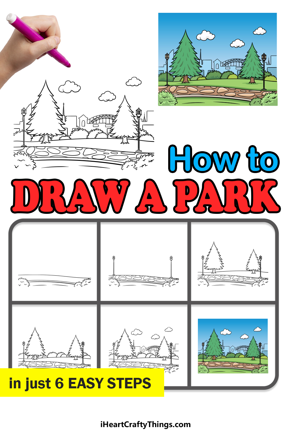 how to draw a park in 6 easy steps