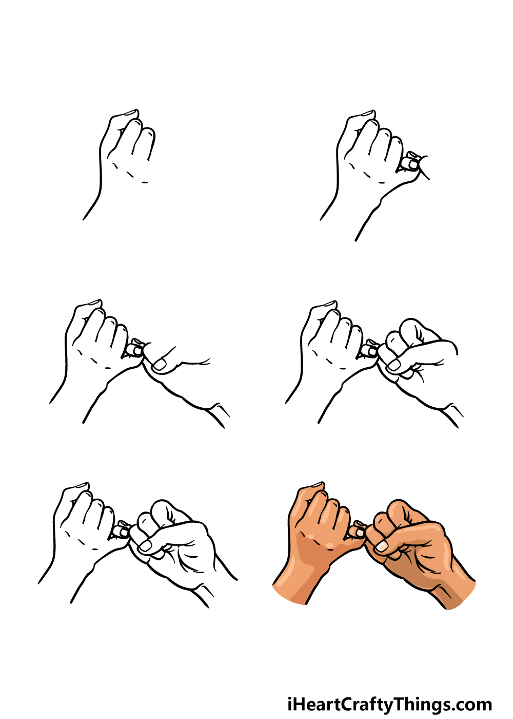 how to draw a Pinky Promise in 6 steps