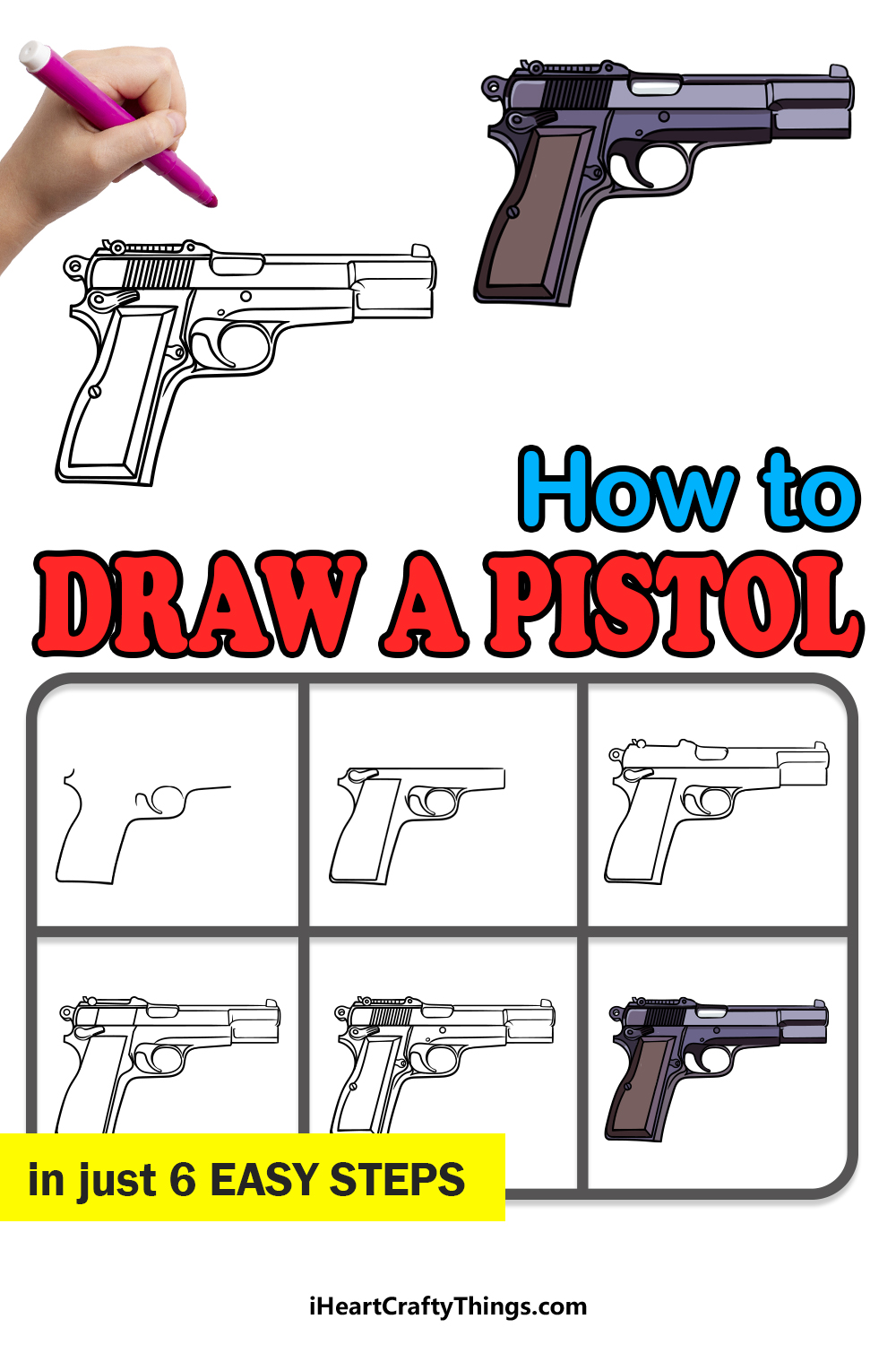how to draw a pistol in 6 easy steps