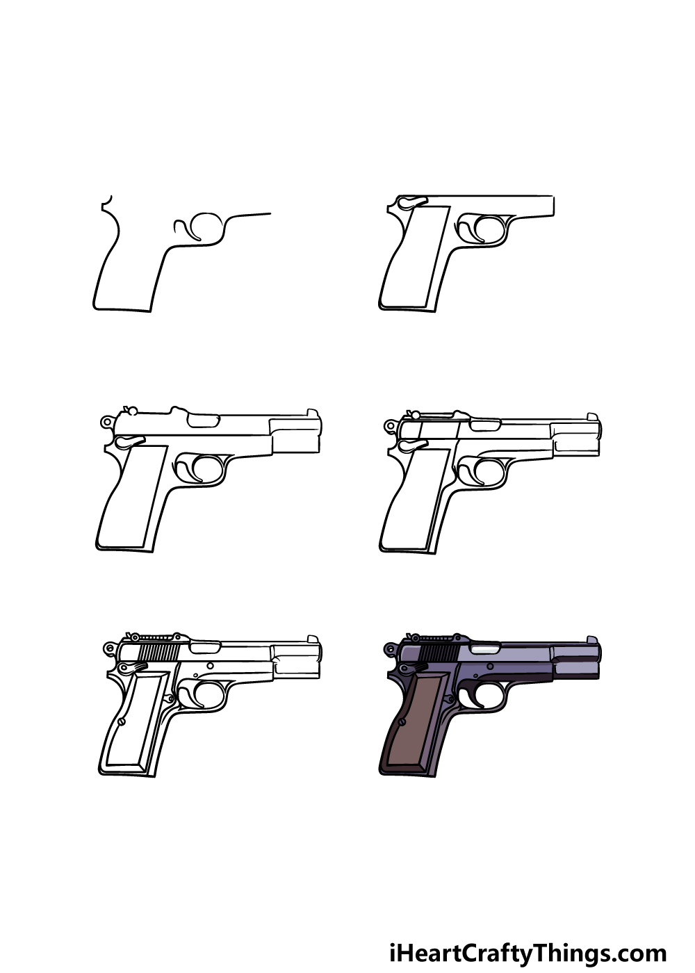 how to draw a pistol in 6 steps