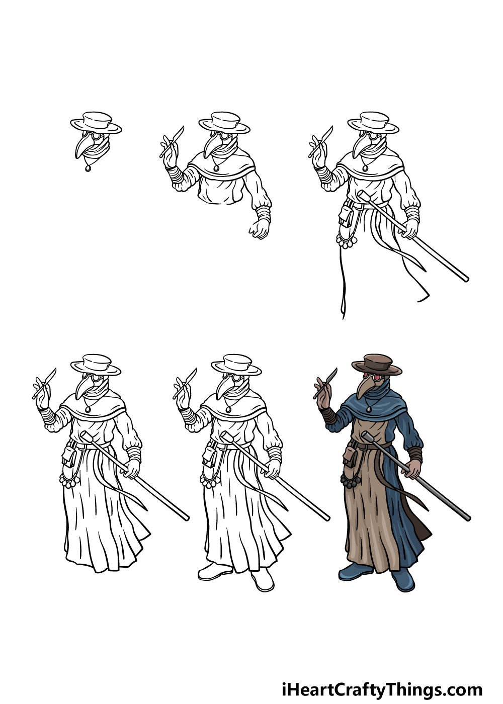 how to draw a plague doctor in 6 steps