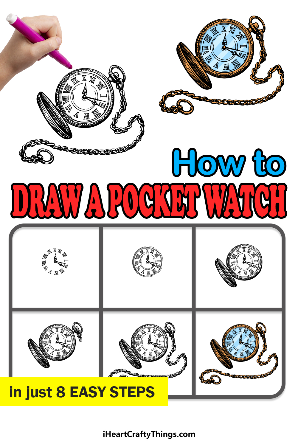 how to draw a pocket watch in 8 easy steps