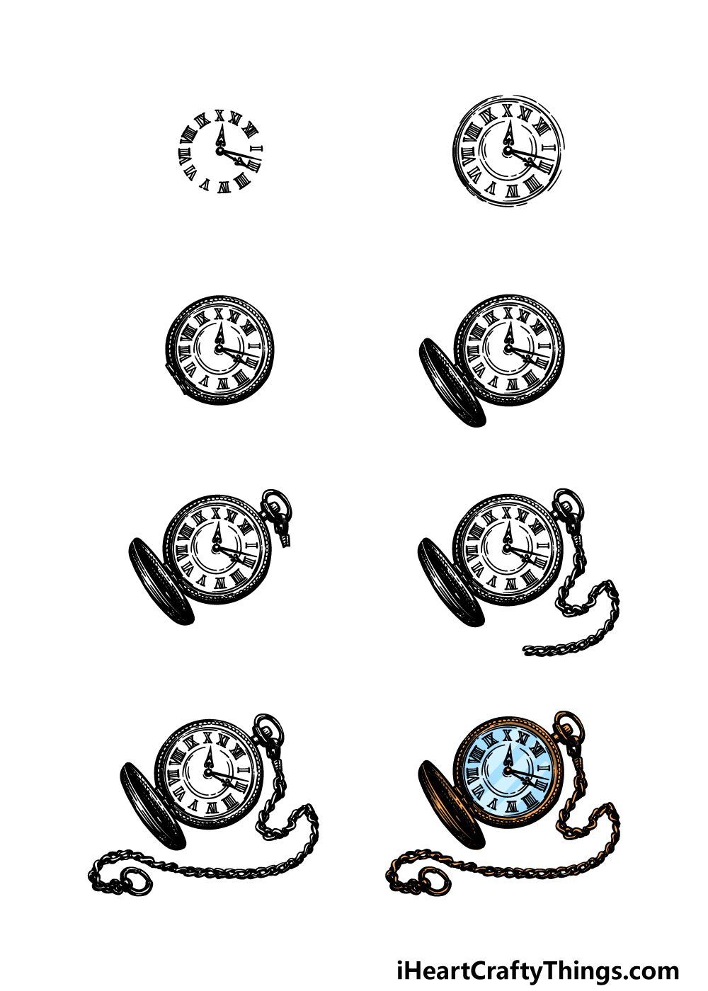 how to draw a pocket watch in 8 steps