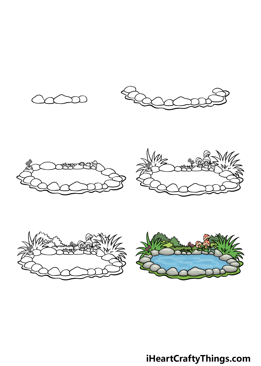 how to draw a pond in 6 steps