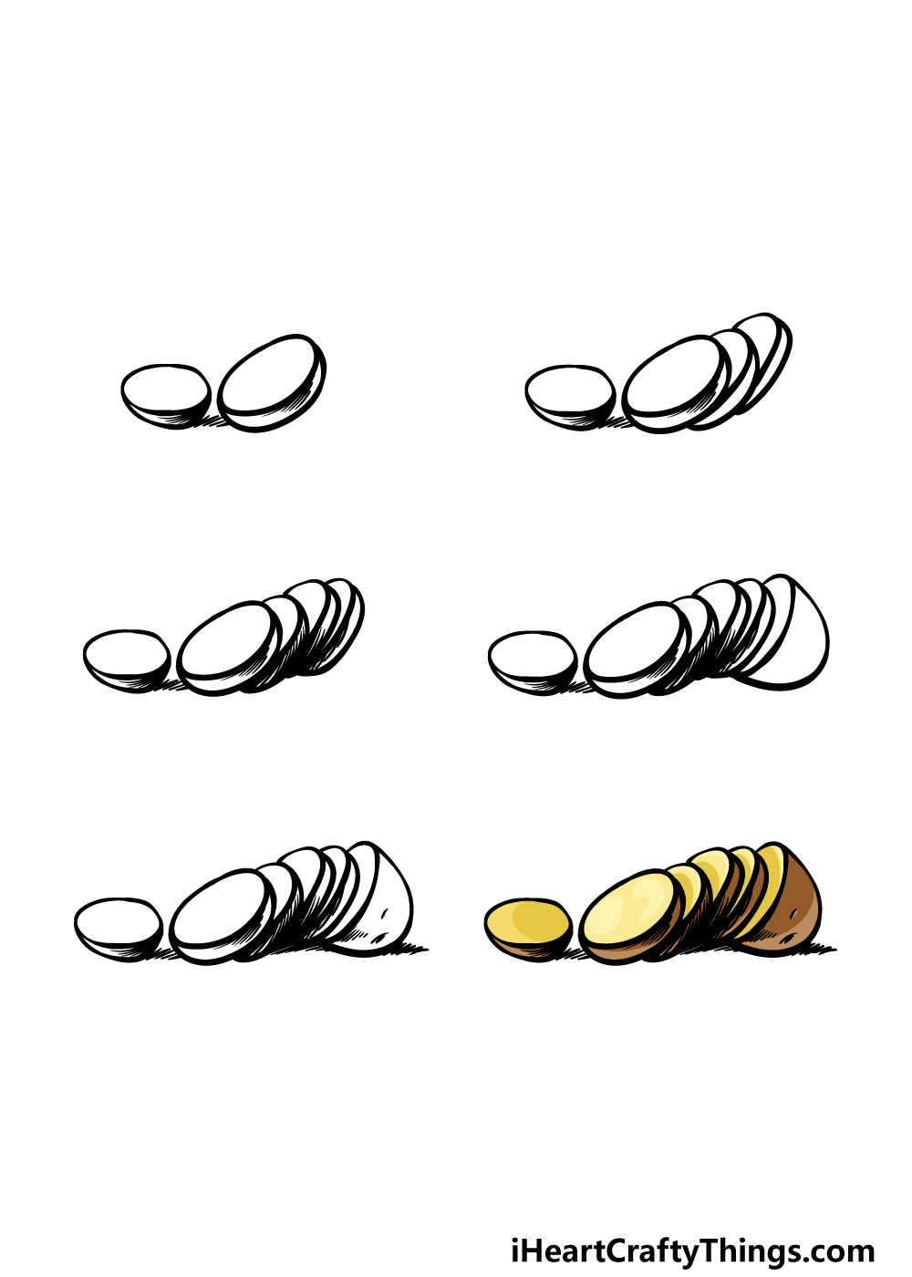 how to draw a potato in 6 steps
