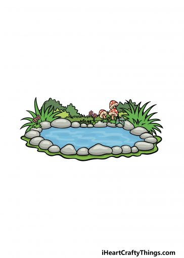 how to draw a pond image
