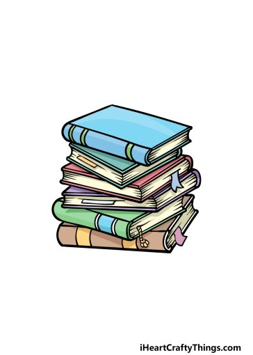 how to draw a stack of books image