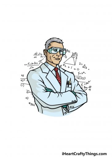 how to draw a scientist image