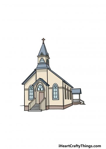 how to draw a church image