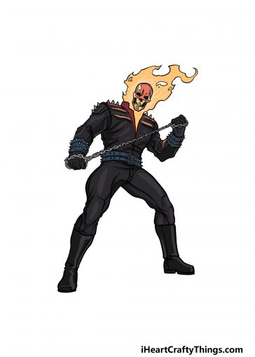 how to draw Ghost Rider image