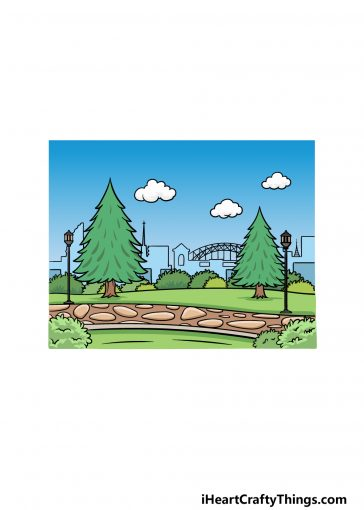 how to draw a park image