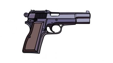 how to draw a pistol image
