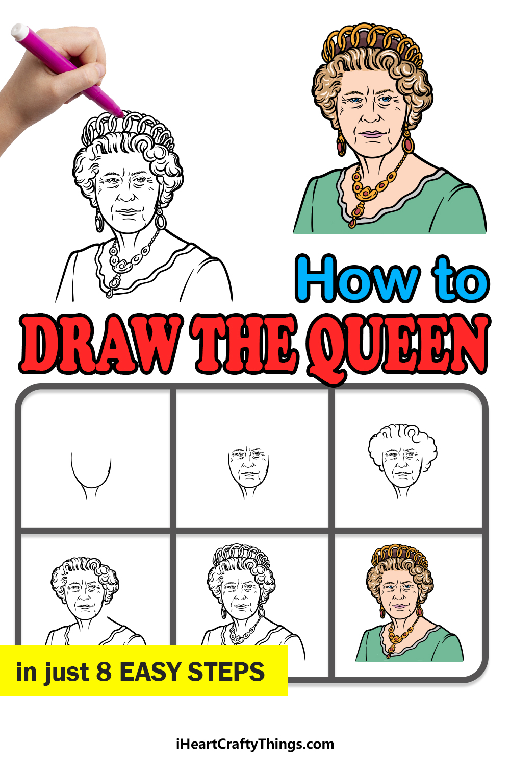 how to draw the Queen in 8 easy steps