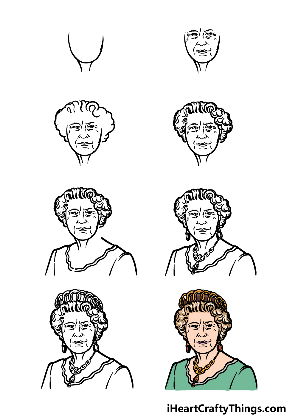 how to draw the Queen in 8 steps