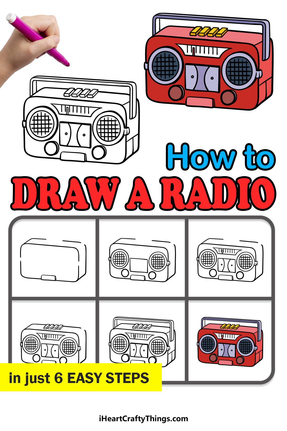 how to draw a radio in 6 easy steps
