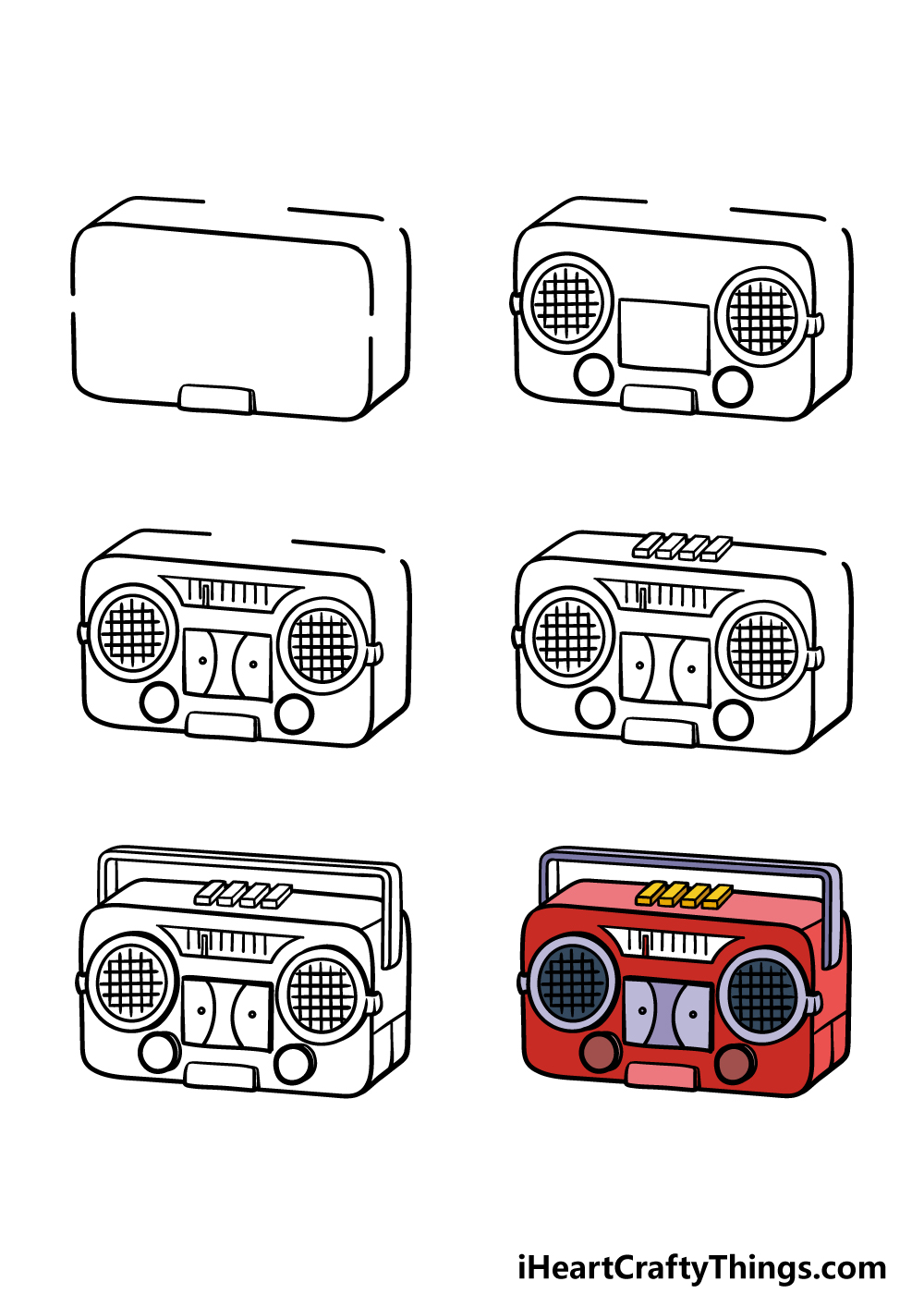 how to draw a radio in 6 steps