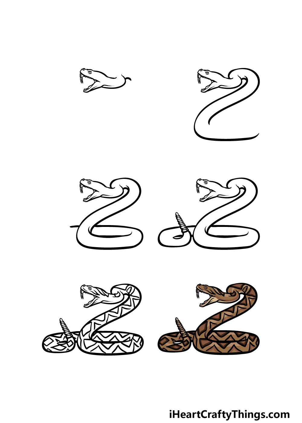 how to draw a rattlesnake in 6 steps