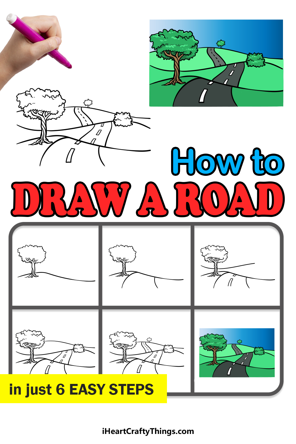 how to draw a road in 6 easy steps